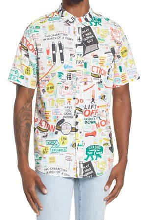 RVCA Men Short sleeves - Men's Espo Print Short Sleeve Button-Up Shirt