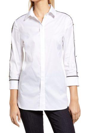 Ming Wang Women's Split Sleeve Poplin Shirt