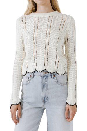 English Factory Women's Scallop Contrast Trim Sweater