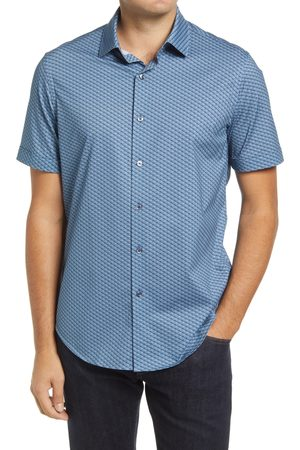 Bugatchi Men's Ooohcotton Print Stretch Short Sleeve Button-Up Shirt