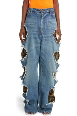 Balenciaga Women's Slashed Organic Cotton Baggy Jeans