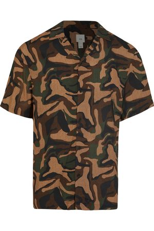 River Island Men's Revere Camo Short Sleeve Button-Up Shirt