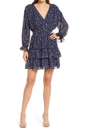Lulus Women Long sleeves - Women's Take My Hand Long Sleeve Tiered Chiffon Minidress