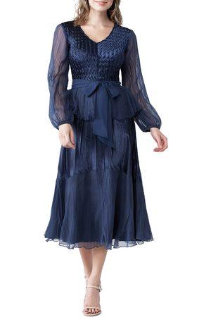 Komarov Women's Long Sleeve V-Neck Dress