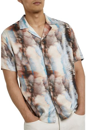 River Island Men's Revere Marble Ombre Short Sleeve Button-Up Shirt