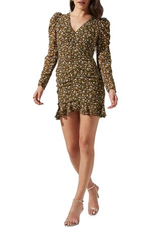 ASTR Women's Ruched Center Long Sleeve Minidress