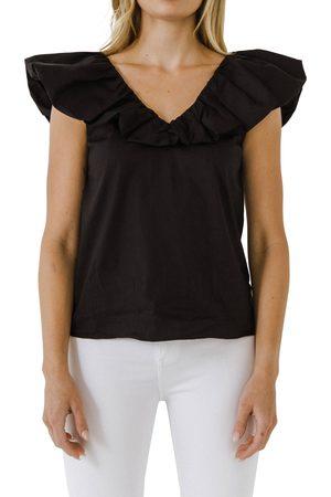 ENGLISH FACTORY Women's Ruffle V-Neck Cotton Top