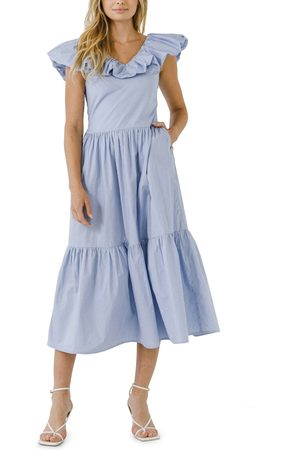 ENGLISH FACTORY Women's Ruffle Midi Dress