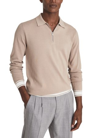 Reiss Men's Jericho Long Sleeve Cotton Blend Quarter Zip Polo