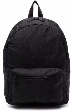 Alexander McQueen Skull Embroidered Backpack Black