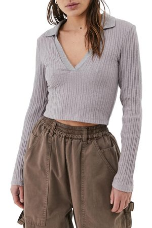 BDG Urban Outfitters Women's Rosie Crop Long Sleeve Polo