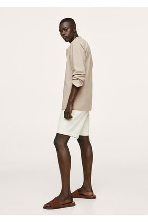 MANGO Mandarin collar cotton lyocell shirt