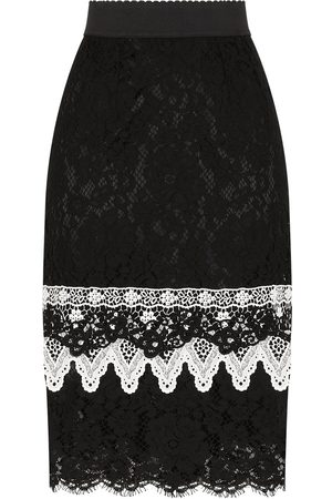 Dolce & Gabbana Macramé-ruffle lace midi skirt