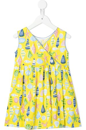 Familiar Girls Printed Dresses - Shell-print cotton sundress