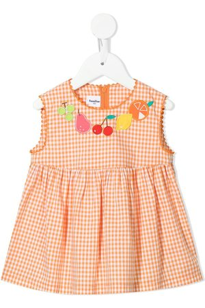 Familiar Girls Casual Dresses - Check fruit-embroidered dress