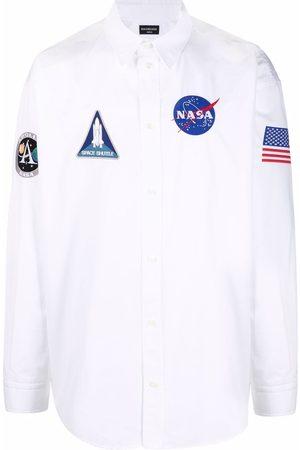 Balenciaga Men Shirts - Space logo-patch shirt