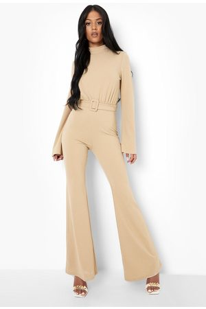 Boohoo Womens Tall High Neck Belted Jumpsuit - - 4