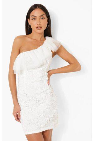 Boohoo Womens One Shoulder Lace Ruffle Mini Dress - - 2