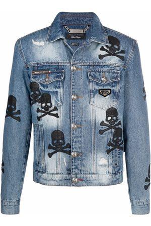 Philipp Plein Men Denim Jackets - Skull patch denim jacket