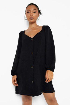 Boohoo Womens Petite Puff Sleeve Button Front Swing Dress - - 2