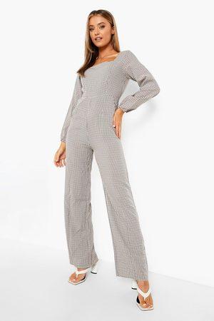 Boohoo Women Jumpsuits - Womens Flannel Square Neck Lace Up Wide Leg Jumpsuit - - 4