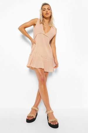 Boohoo Women Beach Dresses - Womens Crinkle Plunge Beach Dress - - S