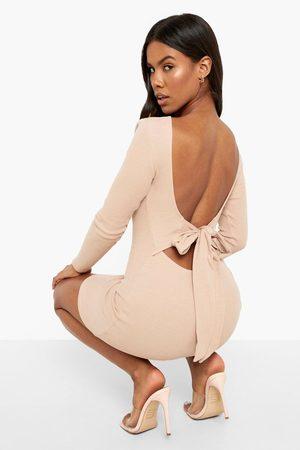Boohoo Womens Premium Rib Long Sleeve Bow Detail Mini Dress - - 4