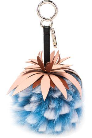 Fendi Blue Fur & Leather Pineapple Bag Charm