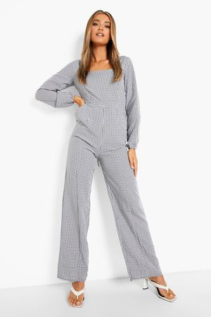 Boohoo Womens Flannel Square Neck Lace Up Wide Leg Jumpsuit - - 4