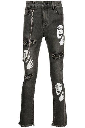 HACULLA Witch print distressed jeans - Grey