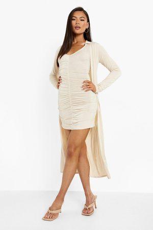Boohoo Womens Ruched Front Mini Shirt Dress & Duster Set - - 4