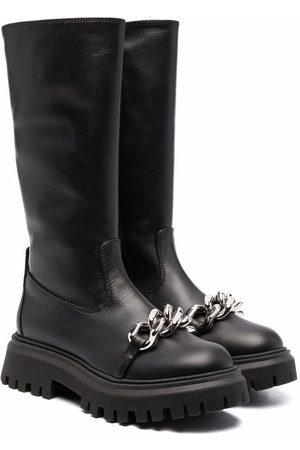 Nº21 Kids Girls Thigh High Boots - Chain-link detail tall boots