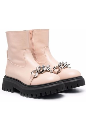 Nº21 Kids Chain-link strap ankle boots - Neutrals