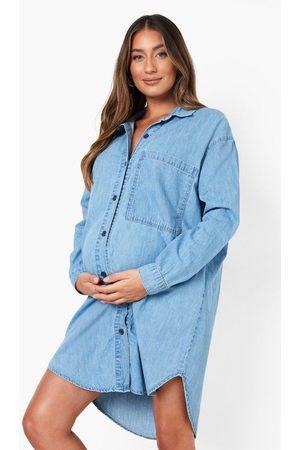 Boohoo Womens Maternity Side Split Oversized Denim Shirt - - 4