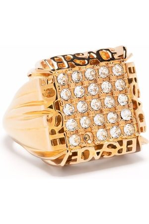 VERSACE Logo-plaque crystal-embellished ring