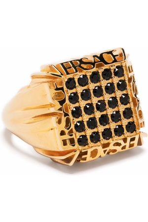 VERSACE Rings - Logo-plaque crystal-embellished ring