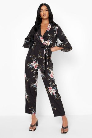 Boohoo Womens Tall Floral Wrap Jumpsuit - - 2