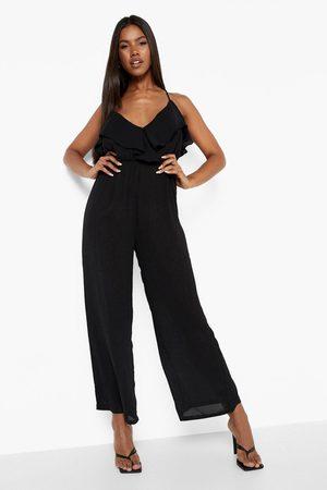 Boohoo Womens Ruffle Cullotte Jumpsuit - - 4