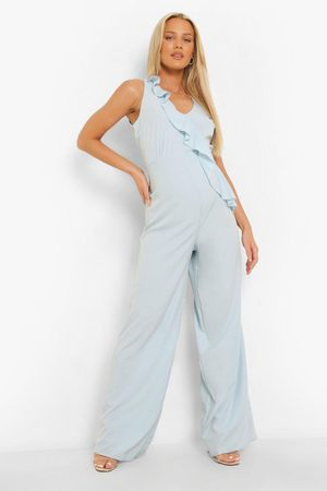 Boohoo Womens Maternity Frill Plunge Wide Leg Jumpsuits - - 4