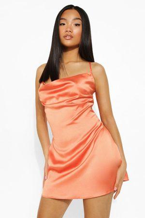 Boohoo Womens Petite Satin Chain Lace Up Mini Dress - - 2