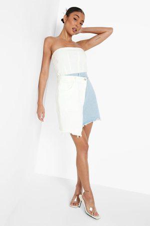 Boohoo Womens Asymmetric Spliced Denim Mini Skirt - - L