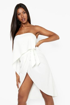 Boohoo Womens Bandeau Draped Wrap Midi Dress - - 4