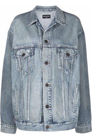 Balenciaga Women Denim Jackets - Oversized washed denim jacket
