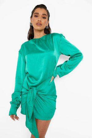 Boohoo Womens Satin Blouson Tie Detail Mini Dress - - 2