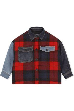 Dolce & Gabbana Boys Denim Jackets - Checked denim-panelled jacket
