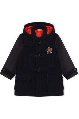 Dolce & Gabbana Logo-patch hooded duffle coat