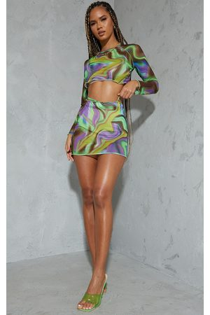 PRETTYLITTLETHING Multi Swirl Printed Mesh Mini Skirt