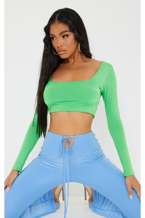 PRETTYLITTLETHING Bright Second Skin Square Neck Long Sleeve Crop Top