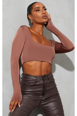 PRETTYLITTLETHING Women Crop Tops - Chocolate Second Skin Square Neck Long Sleeve Crop Top