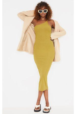 PrettyLittleThing Olive Rib Asymmetric Strap Midaxi Dress